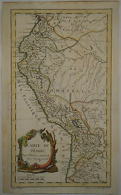 c1755 Genuine Antique Hand Colored Map Carte du Perou, Peru. J.N. Bellin