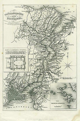 1855 Genuine Antique map of Constantinople & the Bosphorus with Fortifications