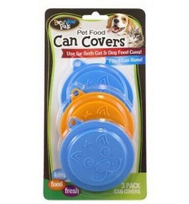 Pet Food Can Cover Lid Set of 3 for Cat or Dog Food Paw Print Design Multi Color