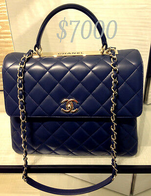 CHANEL Quilted Jumbo Kelly / Trendy CC Flap Black Caviar & Gold Hardware - RARE!