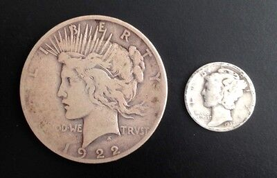 1922 D Silver Circulated Peace Dollar