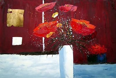 24x36 Red Anemone Flowers in White Vase Abstract Oil Painting Modern