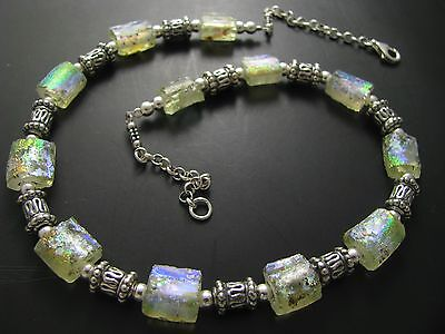 925 Silver One Of A Kind Rare Colorful Ancient Roman Glass Necklace