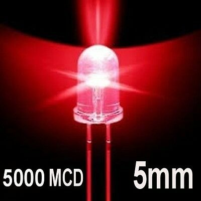 100 LED DIODI 5mm ROSSO LUMINOSITA 5000 MCD ROSSI
