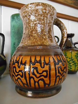 Retro 1960's fat lava vase, vintage West German mid century Eames era pottery
