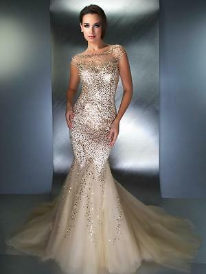 Sexy Gold Mermaid Evening Dress Sequins Beaded Formal Prom Gown Celebrity Gown
