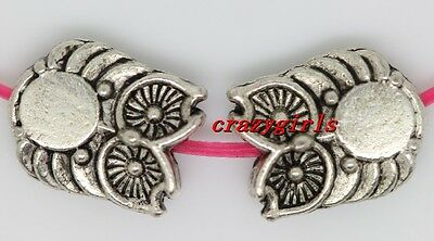 20pcs Tibet silver two-sided owl Charm Spacer Beads 10x8mm(Lead Free)