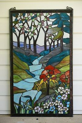"""20"""" x 34""""Large Handcrafted stained glass window panel Deer Drinking Water,TMI446"""