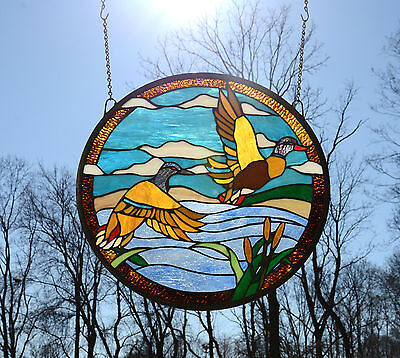"19.75"" Dia TWO MALLARD DUCKS Round Tiffany Style Stained Glass Suncatcher Panel"