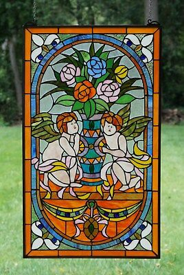 """20"""" x 34"""" Tiffany Style stained glass window panel Jeweled two angel"""
