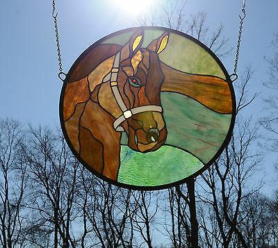 """20""""Dia Round Horse Head Tiffany Style Stained Glass Suncatcher Panel, SOLD AS IS"""