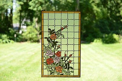sold out!!! Tiffany Style stained glass window panel Rose Flowers Blossom