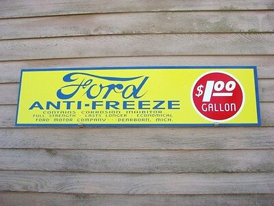 EARLY STYLE LOGO FORD ANTIFREEZE 1920'S-30'S STYLE 1'X4' METAL SIGN-GARAGE ART