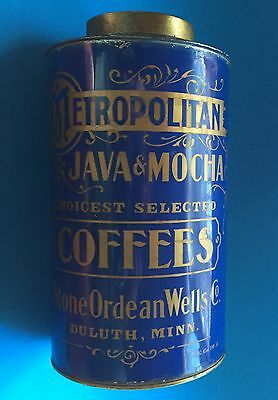 Vintage Country Store Tin Coffee Can. Metropolitan Java & Mocha Coffees.