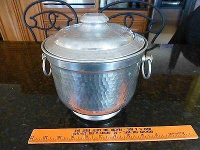 Vintage hand hammered Ice Bucket Aluminum made in Italy