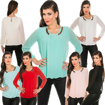 Damen Bluse Tunika Shirt Statement Kette S 34 36 38 Büro Club Party elegant sexy