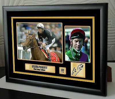 "Lester Piggott Limited Edition Framed Canvas Tribute Print Signed ""Great Gift"""