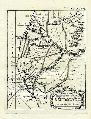 c.1760, Genuine Antique Map of the Nile Delta & Suez Canal. by J.N. Bellin