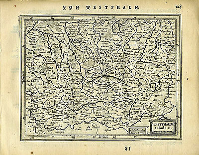 1651 Genuine Antique map NW Germany, Westphalia, Munster.  Mercator/Jansson