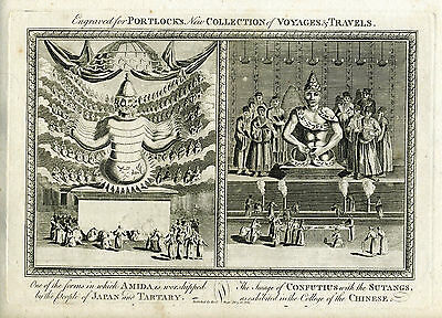 1794 Genuine Antique print of Religious Idols of Japan & China, Portlock
