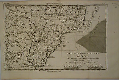 c1760 Genuine Antique map east Brazil, Bresil, Rio de la Plata. Rigobert Bonne
