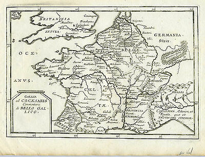 1677 Genuine Antique map of France. Gallia. Gallico. Du Val