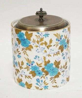 DAVENPORT PORCELAIN BISCUIT JAR WITH ENAMELED LEAVES & FLOWERS WITH ... Lot 1061