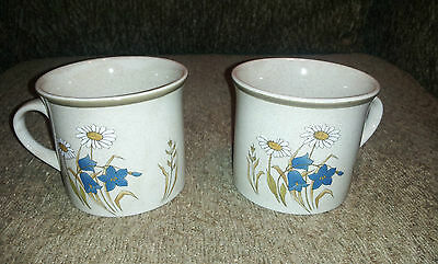 2 Royal Doulton Lambethware Mug Cup Hill Top L.S.1025 blue white floral motif