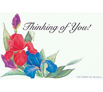 "50ct. ""Thinking of You"" Iris Flowers Blank Florist Enclosure Cards Small Tags"