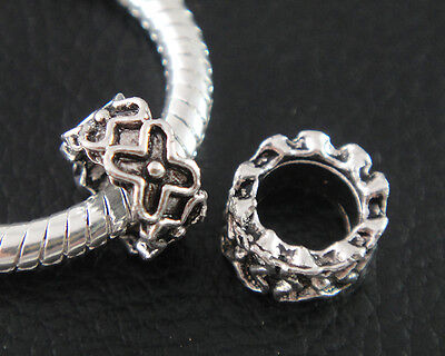 Lot of 10 EUROPEAN CHARM Antique Silver Metal Lrg Hole Spacer BEADS B-E1