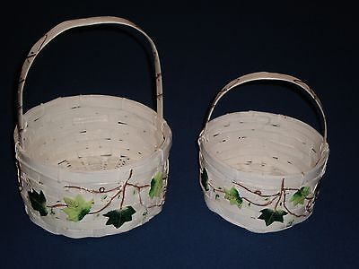 HOME INTERIORS Hand Painted Ivy Vine Wicker Baskets Set Decor