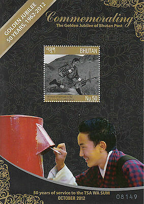 Bhutan 2012 MNH Golden Jubilee Bhutan Post 1v S/S 50 Years Services Tsa Wa Sum