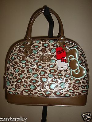 New Loungefly Sanrio Hello Kitty Leopard Print Patent Embossed Satchel Bag Tote