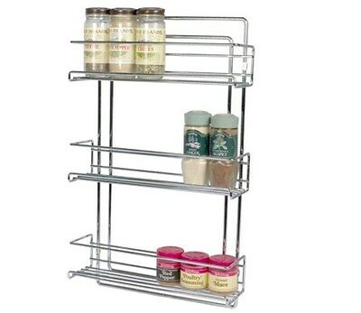 Spice Rack Wall-Mounted Organize It All 3 Tier Chrome Hang Inside Cabinet Door