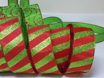 5yds Red Green Peppermint Candy Canes Wired Ribbon Christmas Wreath Gift Bow