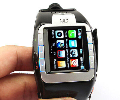 New Unlocked 1.4 Fashion Wrist Mobile Watch Cell Phone GSM Camera Touch Black FS