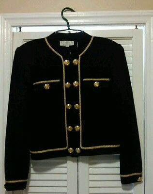 ST JOHN Collection by Marie Gray Size L Gold Military style Knit Blazer Jacket