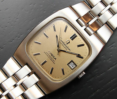 SERVICED Omega Constellation automatic vintage square gold dial date mens