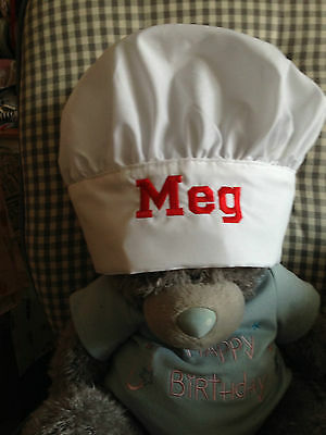 Personalised Chef's Hat -Embroidered - Adjustable Fastening - fits various sizes