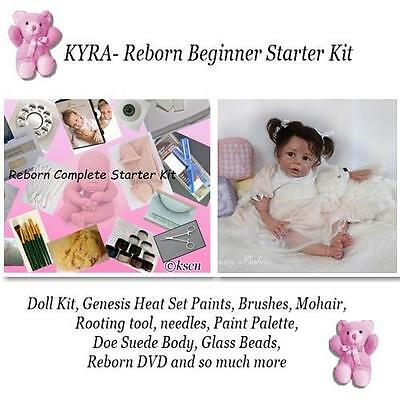KYRA Reborn baby doll kit to make, Paints, kit, eyes, body, tools, to complete