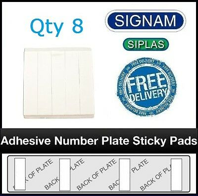 Qty 8 Heavy Duty Car Number Plate Sticky Pads - Weather Proof - Free Shipping