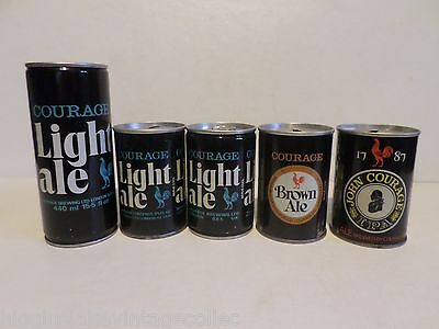 Vtg Lot of 5 Different Courage Ale Steel Beer Cans Brown IPA United Kingdom