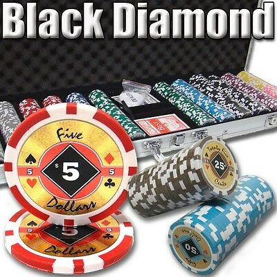 New 600 Black Diamond 14g Clay Poker Chips Set with Aluminum Case - Pick Chips!