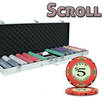 New 600 Scroll 10g Ceramic Poker Chips Set with Aluminum Case - Pick Chips!