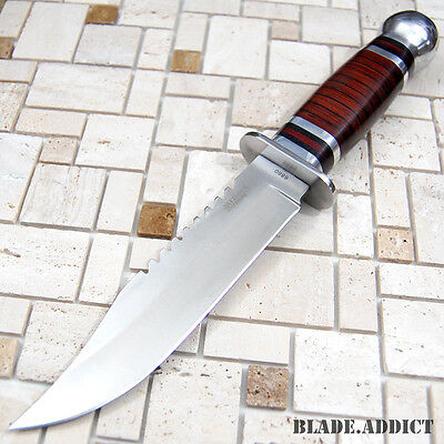 """10.5""""  Stainless Steel Survival Skinning Hunting Knife Wood Handle Bowie 6860-S"""