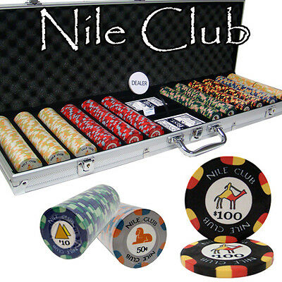 New 600 Nile Club 10g Ceramic Poker Chips Set with Aluminum Case - Pick Chips!