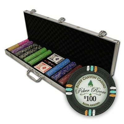 New 600 Bluff Canyon 13.5g Clay Poker Chips Set with Aluminum Case - Pick Chips!