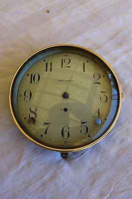 Seth ThomasFace clock,brass ring and enamell metal face still in good condytion
