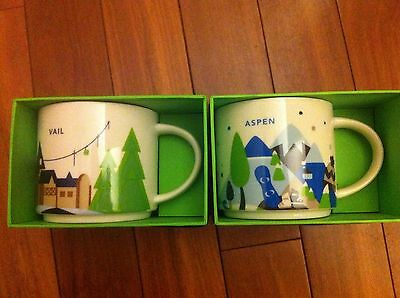Starbucks You Are Here Aspen And Vail Mugs New With Tags. Super Rare!