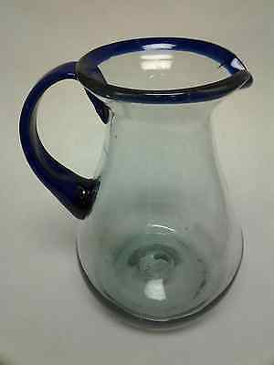 Mexican hand blown pitcher – 9 inches- Cobalt blue rim, handle